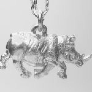 STERLING SILVER SAFARI ANIMALS-RHINO PENDANT