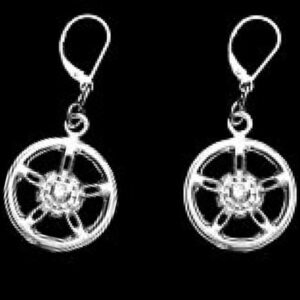 STERLING SILVER(92.5)-MAG WHEEL DANGLE EAR RINGS WITH LEVER BACK