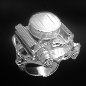 STERLING SILVER-327 ENGINERING W/ AIR CLEANER, ALTERNATOR & AIR CONDITIONER PUMP ENGINE RING