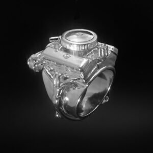 STERLING SILVER(92.5) - CHEVY 396 W/AIR CLEANER, ALTERNATOR & POWER STEERING PUMP ENGINE RING