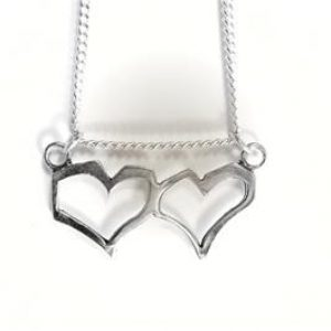 STERLING SILVER - TWO HEART PENDANT