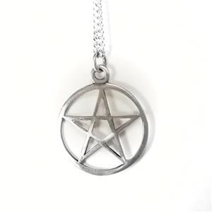 STERLING SILVER OPEN STAR PENDANT IN CIRCLE