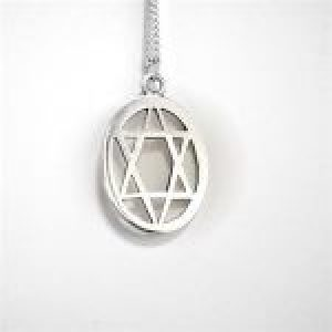 STERLING SILVER- SIX POINT STAR OVAL PENDANT