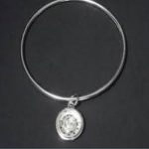 STERLING SILVER BANGLE BRACELET WITH CHARM (92.5)     108-APJ-71-BBMWC