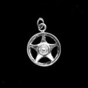STERLING SILVER (92.5)-MAG WHEEL CHARM- STAR-5-SPOKES