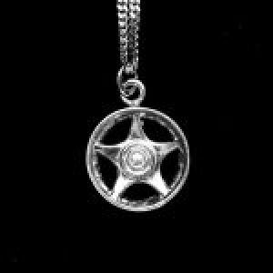 "STERLING SILVER (92.5) MAG WHEEL STAR-5-SPOKES CHARM W/20""CHAIN"