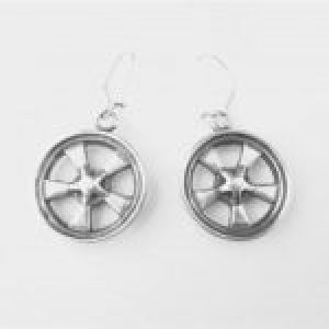 STERLING SILVER(92.5) - MAG WHEEL EAR RING W/ EAR WIRES
