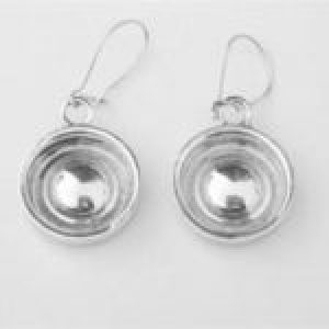 STERLING SILVER-WHEELS-BABY MOON HUB CAP EAR RINGS W/WIRES       TSH-106-APJ-WBMHCEW