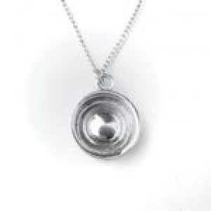 "STERLING SILVER-WHEEL WITH BABY MOON HUB CAP PENDANT 18"" CHAIN        106-APJ-WBMHCP"