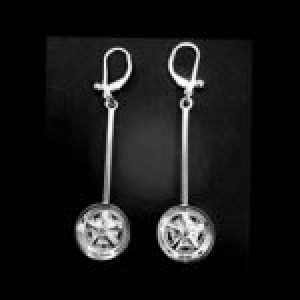 STERLING SILVER - DANGLE MAG WHEEL EAR RINGS WITH LEVER BACK EAR RINGS(92.5)  TSH-109-APJ