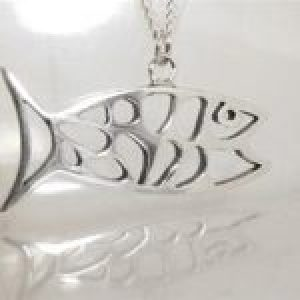 STERLING SILVER-ABSTRACT FISH PENDANT