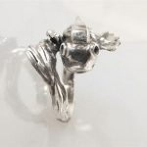 STERLING SILVER - FISH RING