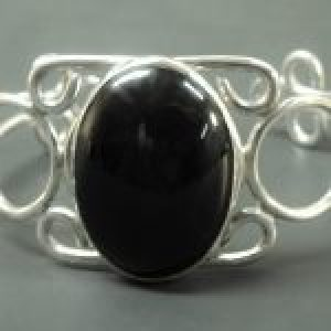 STERLING SILVER CUFF BRACELET WITH 30 X 40 MM BLACK ONYX STONE