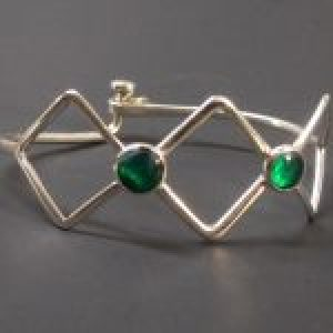 STERLING SILVER(92.5) THREE SQUARE CLASP BRACELET