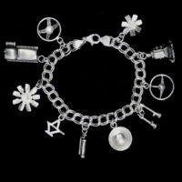 STERLING SILVER (92.5)  - ASSORTED AUTO PARTS SILVER CHARM BRACELET