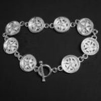 STERLING SILVER (92.5)-PLYMOUTH 68 CHAIN LINK MAG WHEEL BRACELET