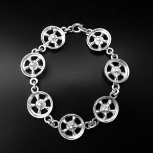 STERLING SILVER (92.5)- CHAIN LINK MAG WHEEL BRACELET