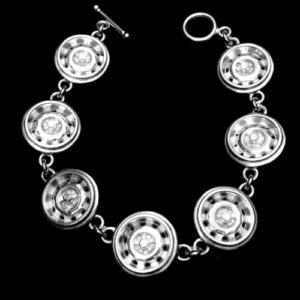 STERLING SILVER(92.5) DODGE 71 CHAIN LINK MAG WHEEL BRACELET