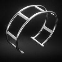 STERLING SILVER (92.5)10GA ROUND WIRE CUFF BRACELET