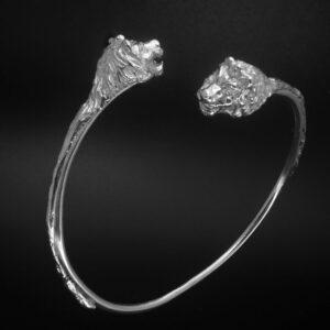 STERLING SILVER (92.5) TWO HEADED LION OPEN ROUND BRACELET